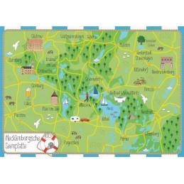 Mecklenburgische Seenplatte - Map - Postkarte