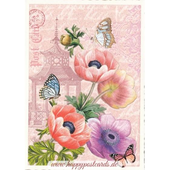 Poppy with Butterflies - Tausendschön - Postcard