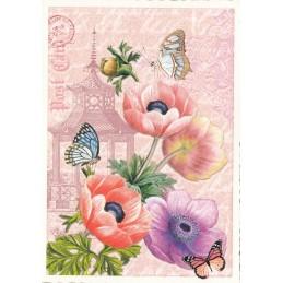 Mohnblume mit Schmetterlingen - Tausendschön - Postkarte