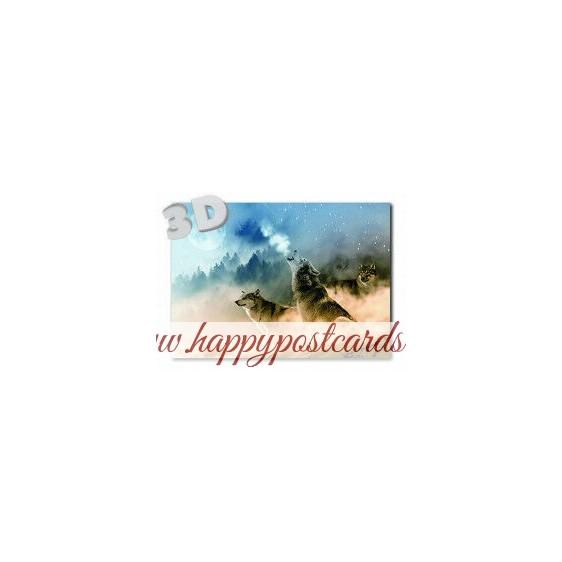 3D Wolves - Postcard