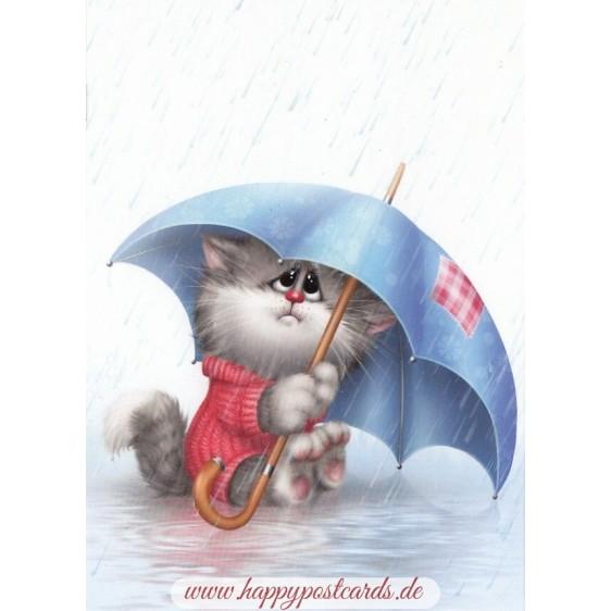 Allein im Regen - Alexey Dolotov - Postkarte