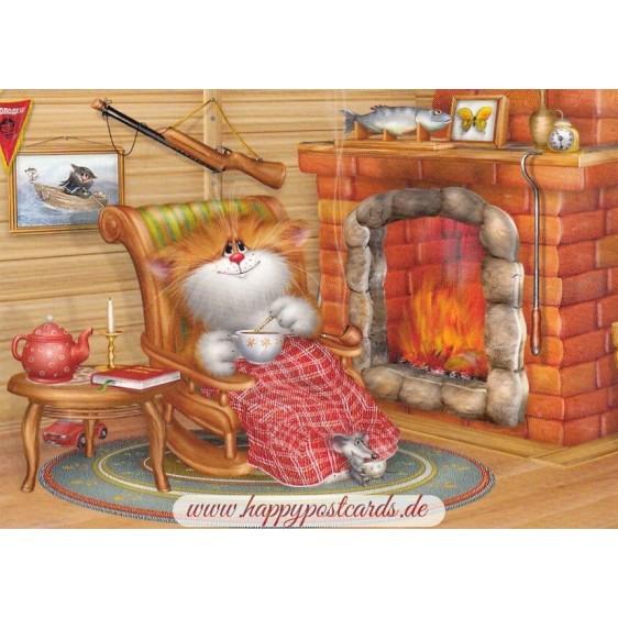 By the fireside - Alexey Dolotov - Postcard