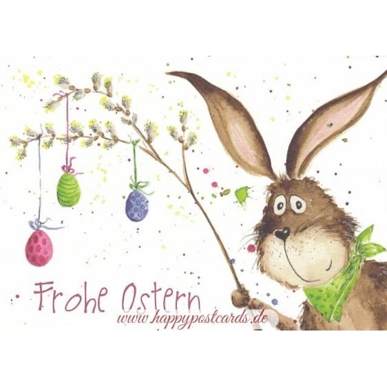 Frohe Ostern - Zweig mit bunten Eiern Osterkarte
