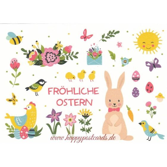 Fröhliche Ostern - Spring Icons - Easter - Postcard