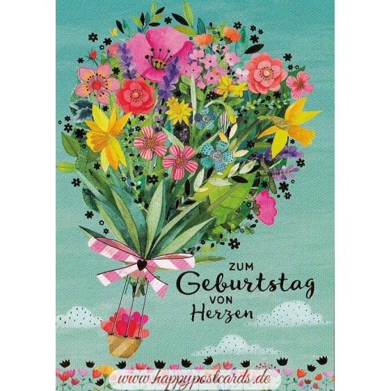 Zum Geburtstag von Herzen - Mila Marquis Postkarte