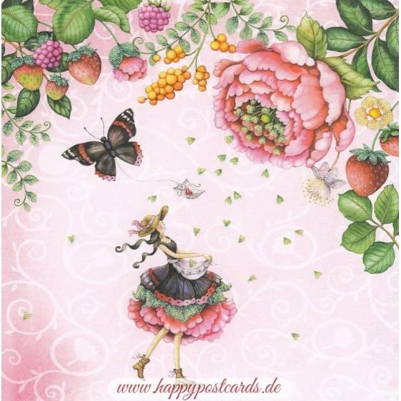 Frau mit Schmetterling und Blüten - Nina Chen Postkarte