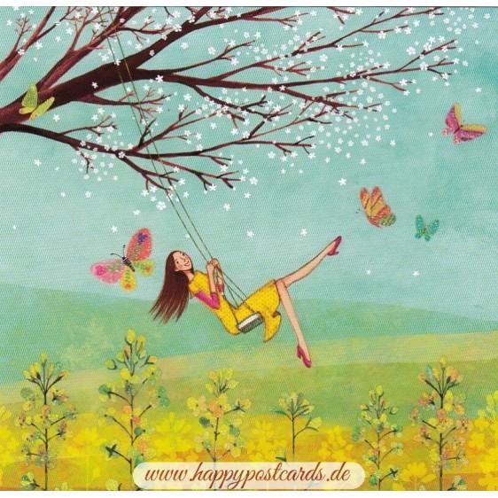 Woman on Swing - Mila Marquis Postcard