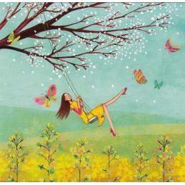 Frau auf Schaukel - Mila Marquis Postkarte