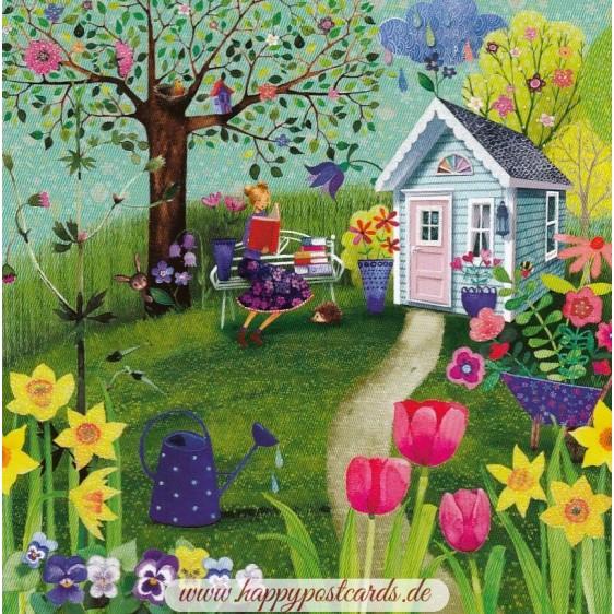 Woman reading in Garden - Mila Marquis Postcard