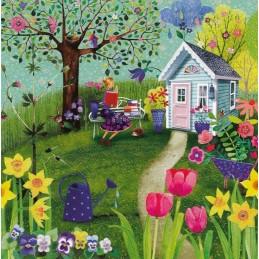 Frau lesend im Garten - Mila Marquis Postkarte