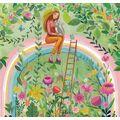 Frau mit Katze auf dem Regenbogen - Mila Marquis Postkarte
