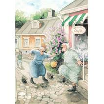 9 - Old Ladies in front of Cafe - postcard