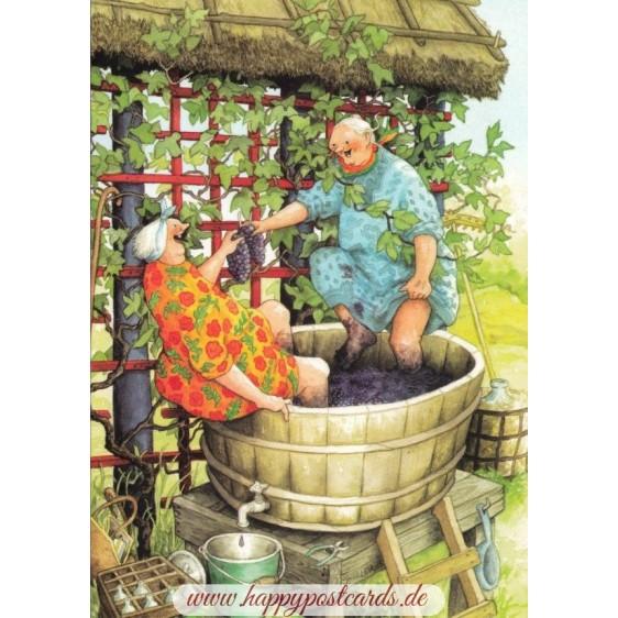 49 - Old Ladies pressing grapes - postcard