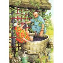 49 - Old Ladies pressing grapes - postcard