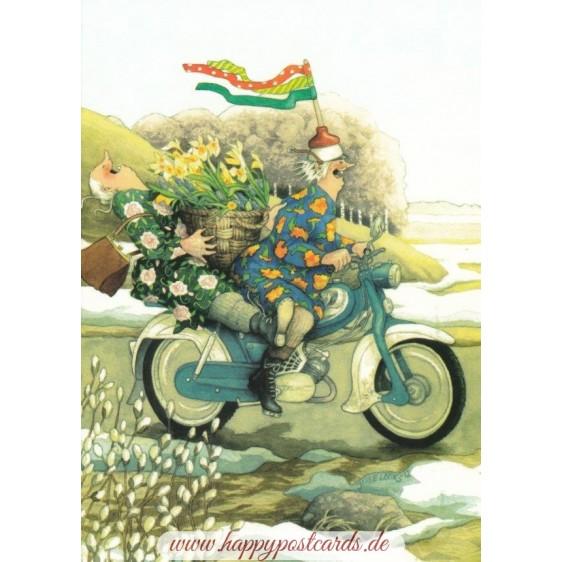 34 - Frauen auf dem Motorrad - Postkarte