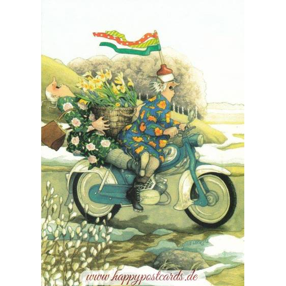 34 - Old Ladies on Motorbike - postcard
