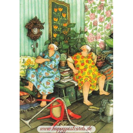 44 - Old Ladies having an argument - postcard
