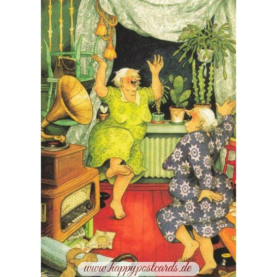 17 - Old Ladies dancing - postcard