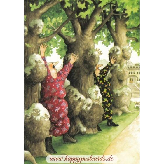 17 - Old Ladies between trees - postcard