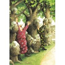 17 - Old Ladies between trees - postcard