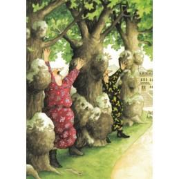 27 - Old Ladies between trees - postcard