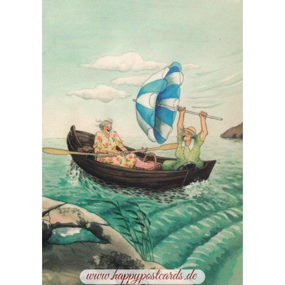3 - Frauen im Boot - Postkarte
