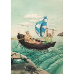 3 - Old Ladies in Boat - postcard