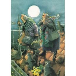 26 - Frauen und Katzen auf dem Dach - Postkarte