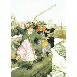 22 - Frauen auf der Hafenmauer - Postkarte
