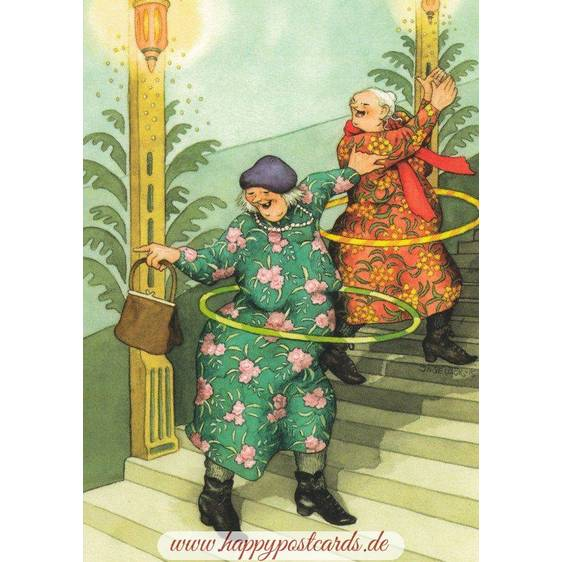 47 - Frauen mit Hulahupreifen - Postkarte