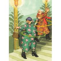47 - Old Ladies with Hula Hoops - postcard