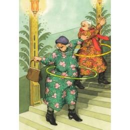 47 - Old Ladies with Hula Hoops - postcard