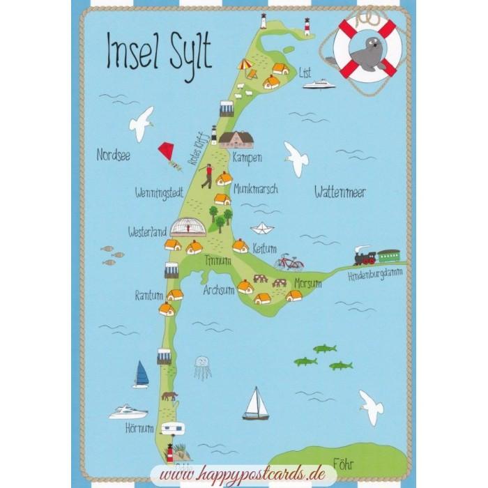 Karte Von Sylt.Insel Sylt Map