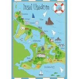 Insel Usedom - Map - Postkarte