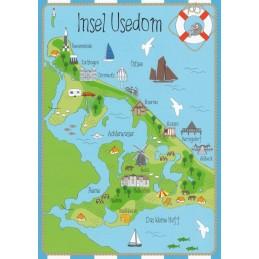 Island Usedom - Map - Postcard