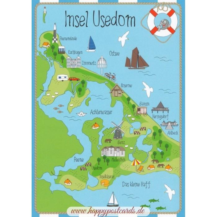 Viewcards Maps Island Usedom Map Postcard Hartung
