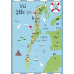 Insel Hiddensee - Map - Postkarte