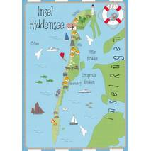 Island Hiddensee - Map - Postcard
