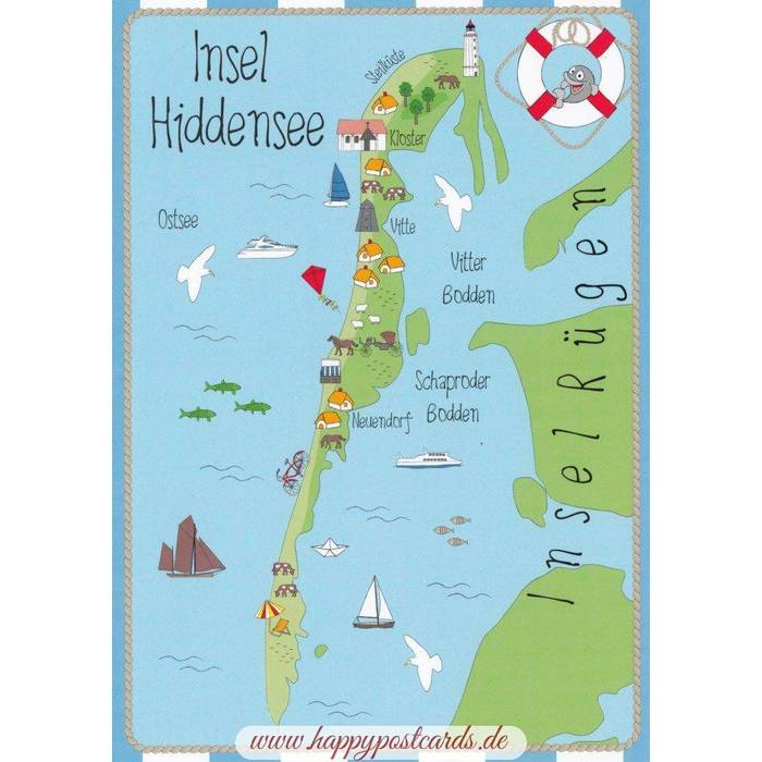 Viewcards Maps Island Hiddensee Map Postcard Hartung
