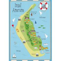 Island Amrum - Map - Postcard