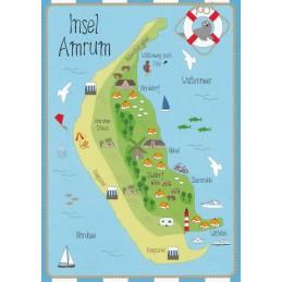 Island Amrum - Map - Postcard