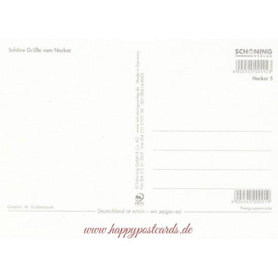 Der Neckar - Map - Postkarte