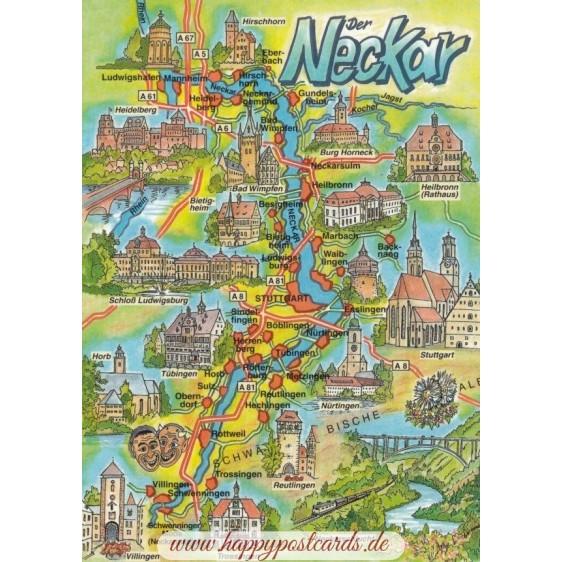 River Neckar - Map - Postcard