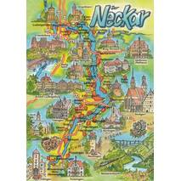 River Neckar - Map - Viewcard