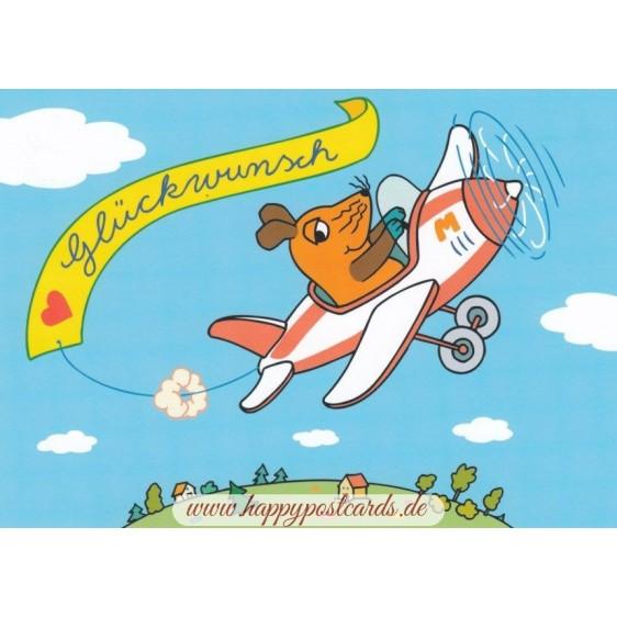 Glückwunsch (Maus im Flieger) - Postkarte