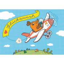 Gratulations (Mouse in an Airplane) - Postcard