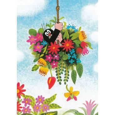 Der Maulwurf in den Blumen - Postkarte