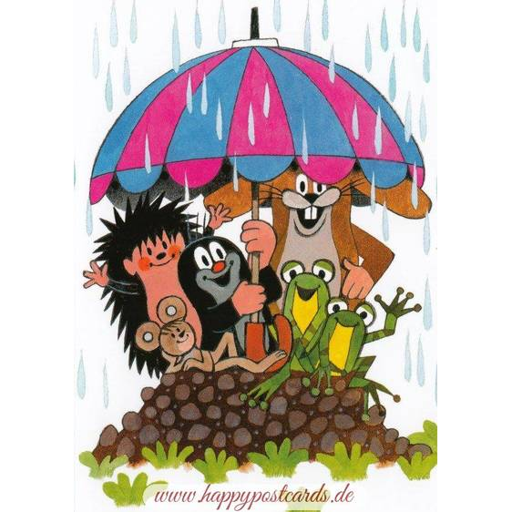 The Mole - Animals under the Umbrella - Postcard