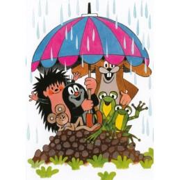 Der Maulwurf - Tiere unterm Regenschirm - Postkarte
