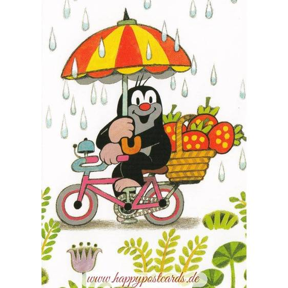 The Mole with a bike in the Rain - Postcard